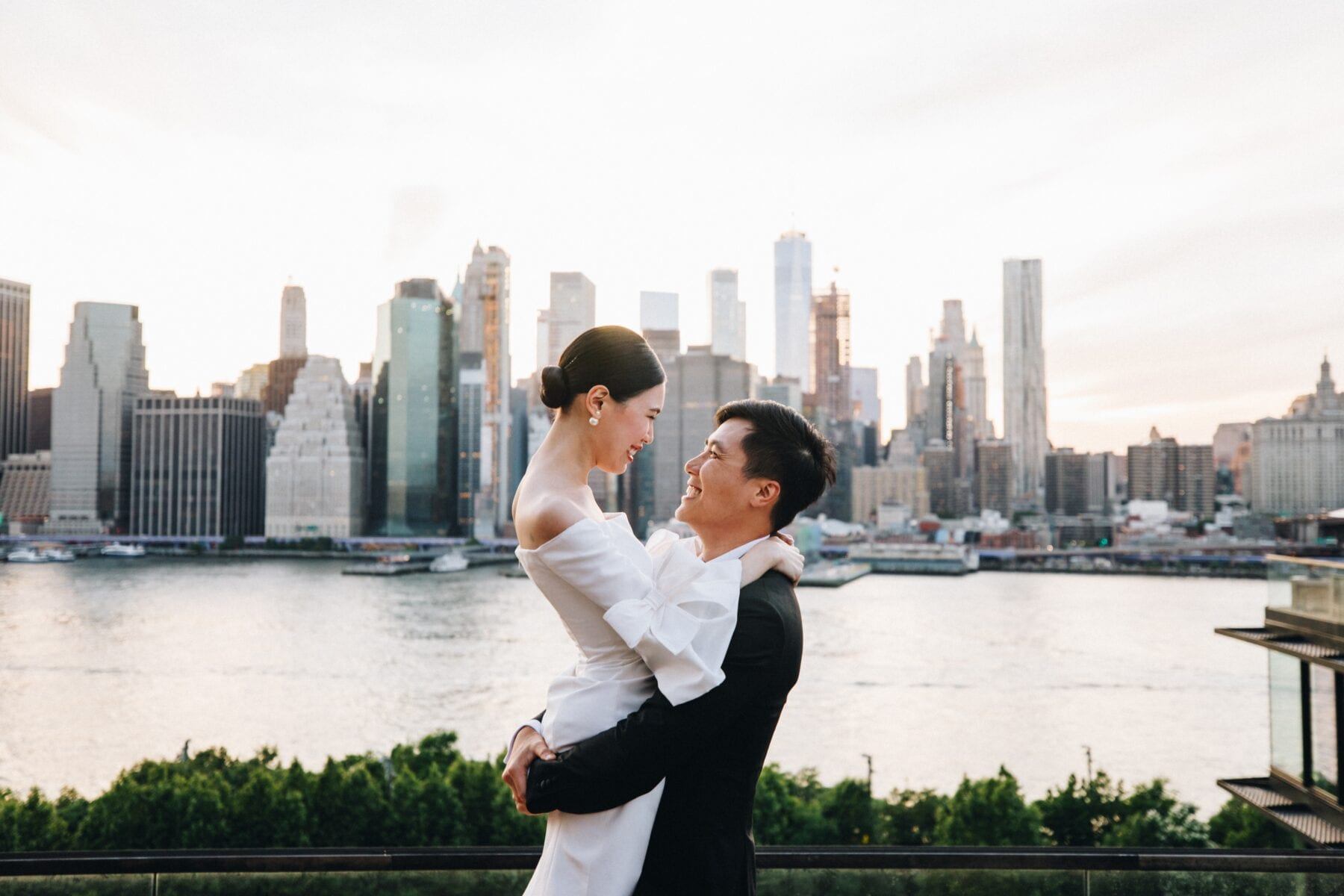 Bride and Groom after ceremony at One Hotel Brooklyn Bridge