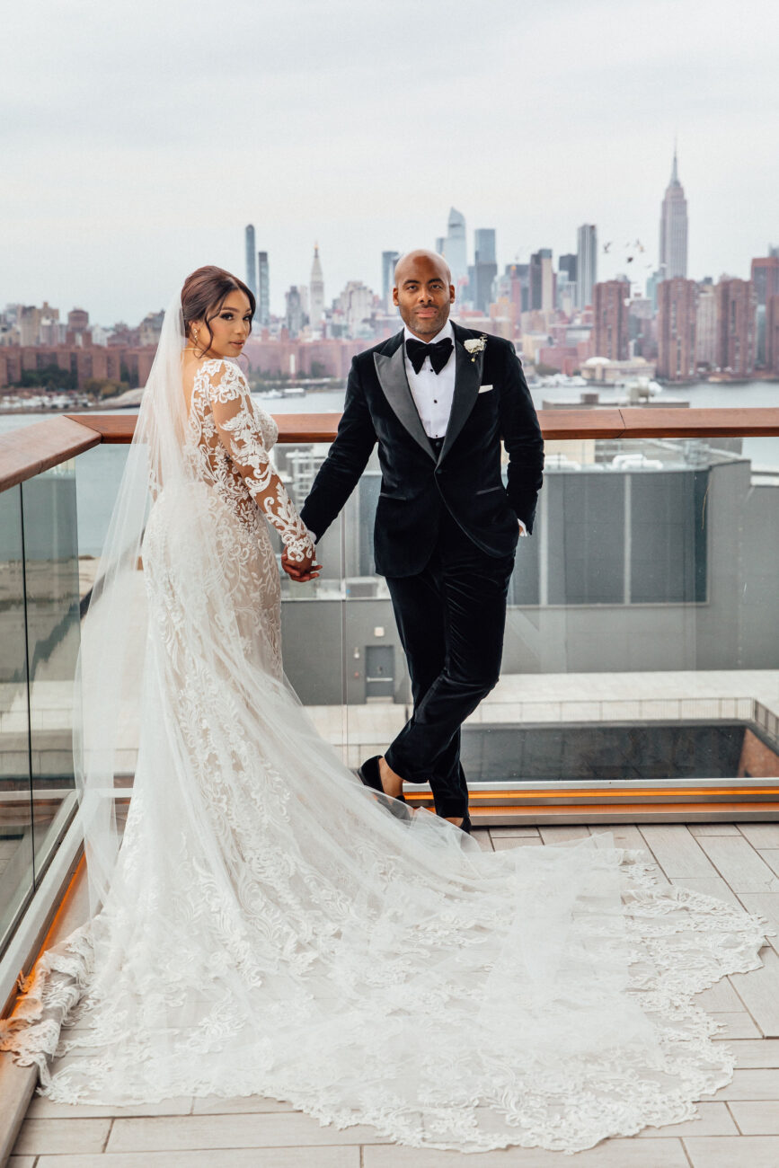 Bride and Groom at The William Vale Hotel with Manhattan views