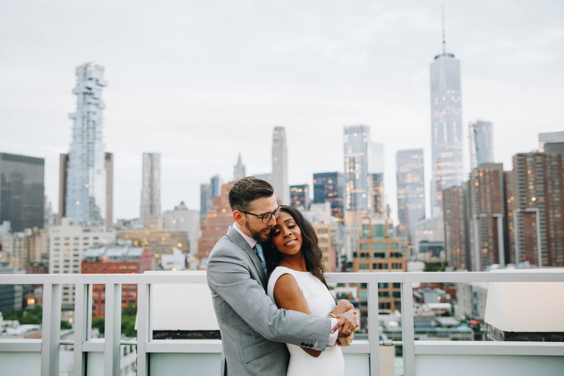 Bride and Groom at Tribeca Rooftop after ceremony