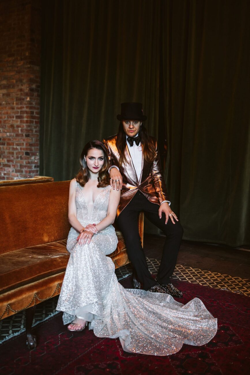 Bride Alexandra (Vita Thorne) and groom Mitchell (January Jane) at the Bowery Hotel wedding