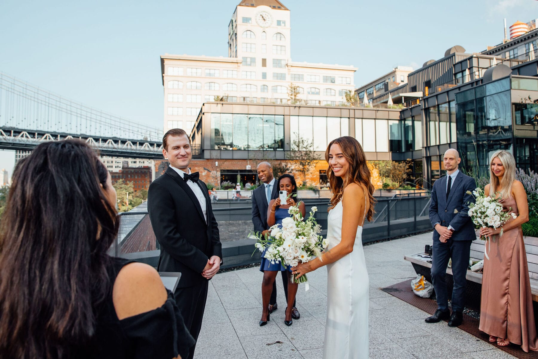 Wedding ceremony at the Timeout Rooftop in Dumbo Brooklyn